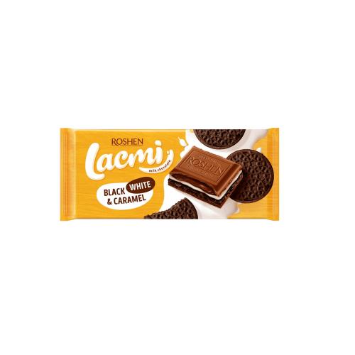 Шоколад молочний Roshen Lacmi Black, White & Caramel з молочною начинкою, карамеллю та печивом з какао 100г