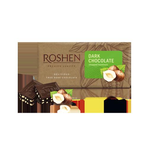 Шоколад Roshen чорний з подрібненим лісовим горіхом 90г