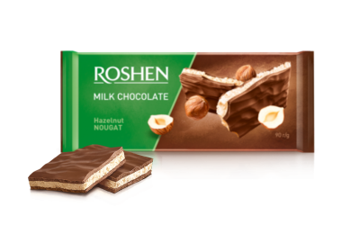 Шоколад Roshen молочний з горіховою нугою 90г