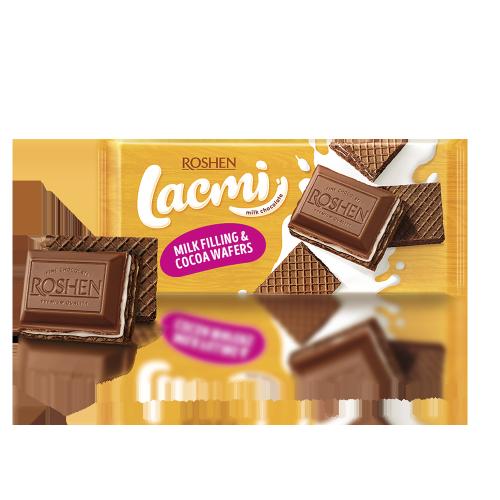 Шоколад молочний Lacmi з вафлею та молочною начинкою 90г