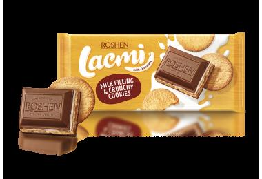 Шоколад молочний Lacmi з молочною начинкою та печивом 115г