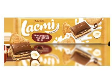 Шоколад молочний Roshen Lacmi з шоколадно-горіховою начинкою та печивом 290г