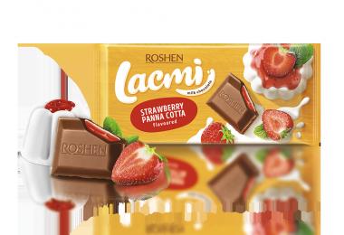 Шоколад молочний Roshen Lacmi з начинкою зі смаком Полунична панакота 90г