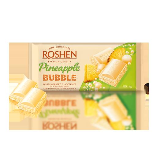 Шоколад пористий білий зі смаком ананасу Рошен 80г