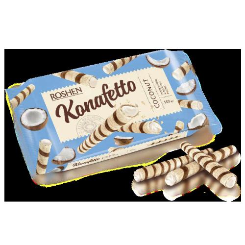Вафельні трубочки Konafetto з кокосовою начинкою 140г