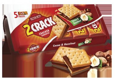 Крекер 2 CRACK з начинкою какао-горіх Roshen 235г