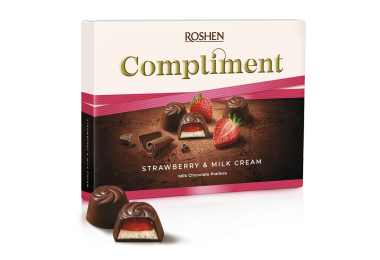 Цукерки Roshen Compliment Strawberry & Milk cream 123г