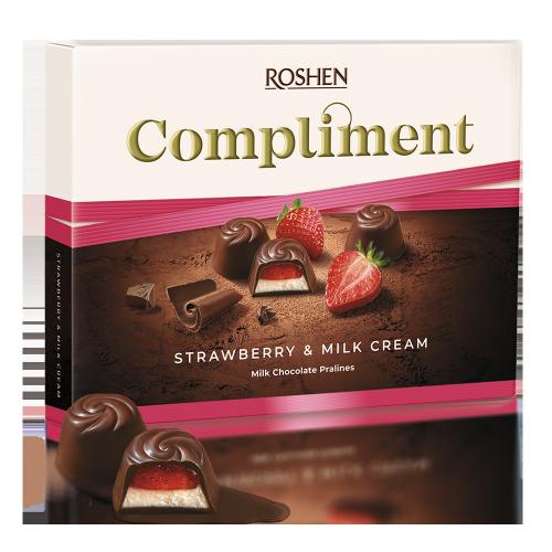 Цукерки Compliment Strawberry & Milk cream 123г